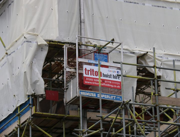 Close up of a Hoist Hire on a Scaffolding Project - Triton Scaffolding Ltd